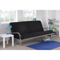 futon walmartmainstays silver metal arm futon black