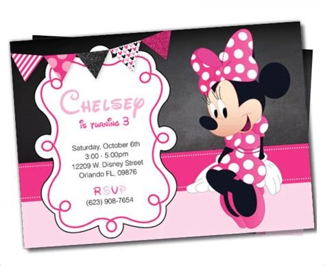 Minnie Mouse Birthday Card Template by 23 Awesome Minnie Mouse Invitation Templates Psd Ai
