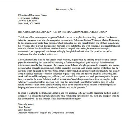 Letter Of Recommendation Template For College Scholarship recommendation letter for college template resume builder