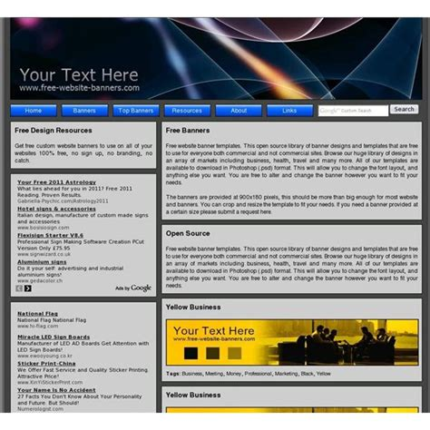templates for web banners top 10 free website banner templates free designs and