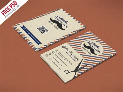 Retro Barber Shop Business Card Psd Template Psdfreebies Com Free Barber Business Card Template