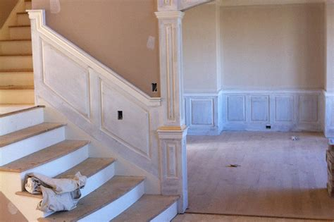 Chair Rail Designs Ideas - staircase work in progress wainscoting pictures