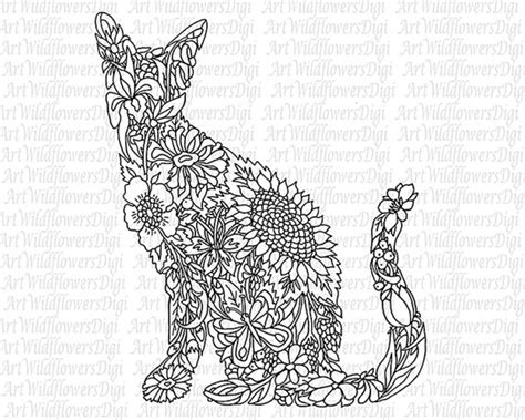 coloring pages adults cat cat coloring page digital st wildflower by