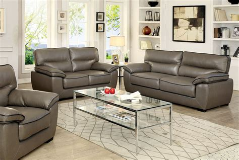 Leather Living Room Set Lennox Gray Shined Faux Leather Living Room Set Cm6126 S Furniture Of America