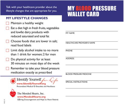 blood pressure wallet card template one million blood pressure tracking cards donated to veterans