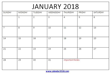 2018 calendar template for word january 2018 calendar printable templates word blank