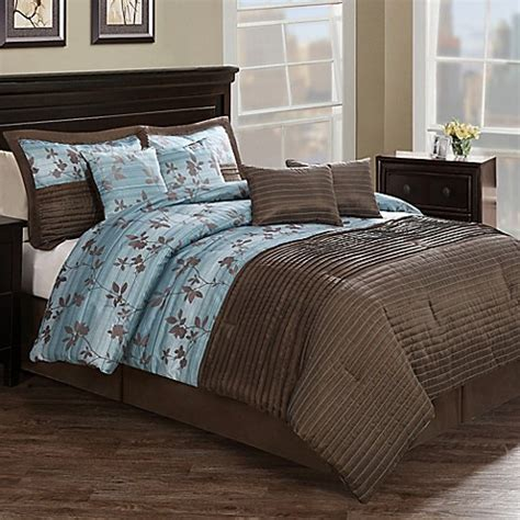 aqua and brown comforter sets chocolate aqua pleat 8 piece comforter set in brown blue