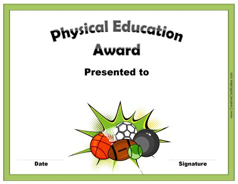 education certificate templates physical education award certificate templates choice