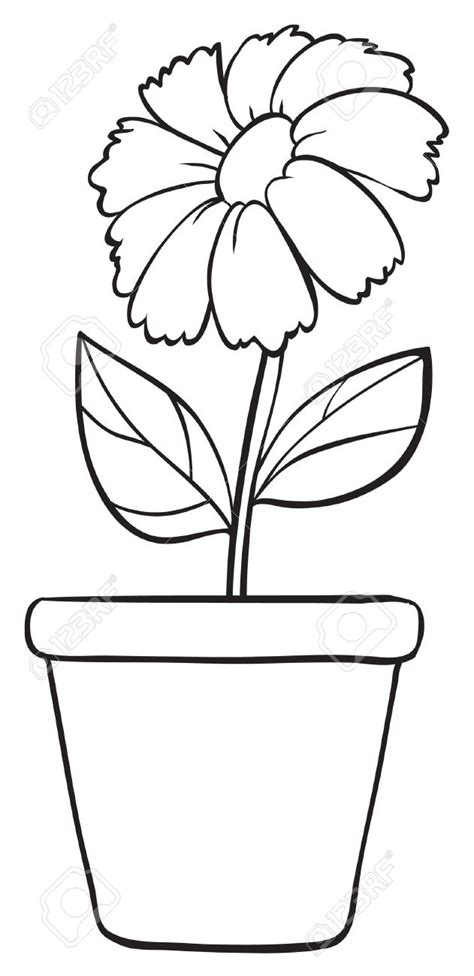 Potted Plants Clipart Black And White Clipartsgram Com Simple Flower Pot Draw Color It