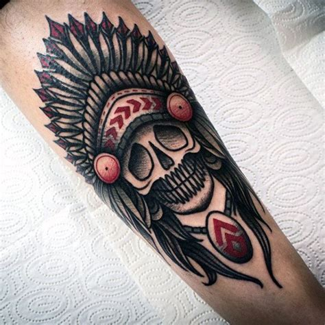 tattoo old school indian 80 indian skull tattoo designs for men cool ink ideas
