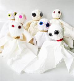 facecloth ghosts craft for kids from kinderart com
