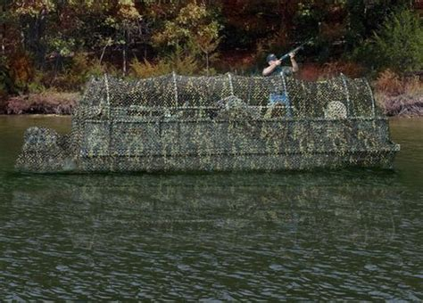 layout boat camouflage pontoon boat turned floating duck blind my house