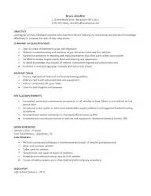Auto Mechanic Resume Exles by Auto Mechanic Resume Sle