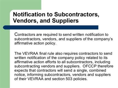 ofccp section 503 briefing ofccp revisions to vevrra august 2013