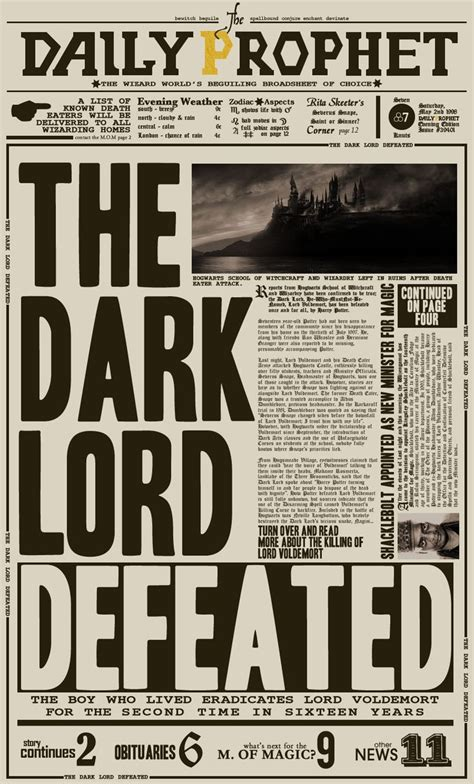 the daily prophet quot the dark lord defeated quot by