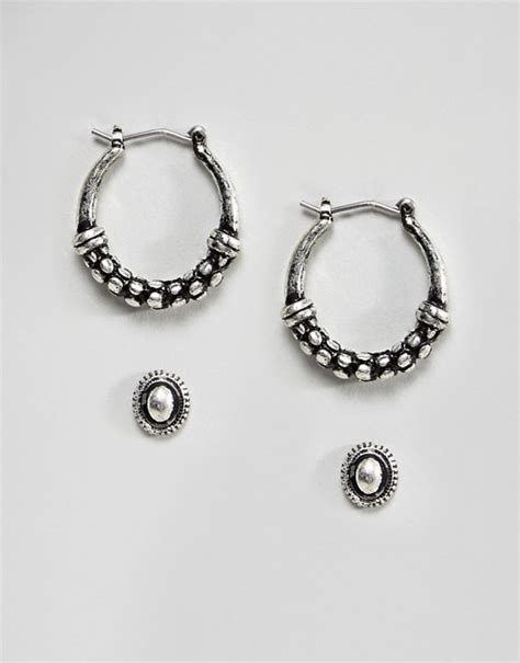 Asos Hoop Earring Pack asos design asos design pack of 2 textured stud and hoop