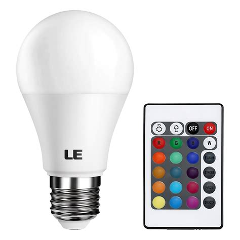 Rgb Led Light Bulbs 5w Color Changing A19 Led Bulb Dimmable Remote Controller Included Le 174