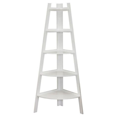 Corner Ladder Bookcase Five Tier Corner Ladder Display Bookshelf White Target
