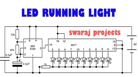layout running led 20 led led driver cd4017be circuits youtube
