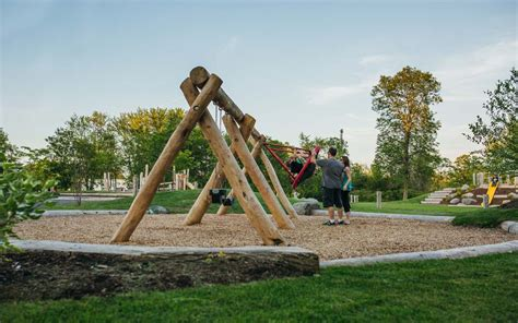swing set ontario natural playground ontario earthscape