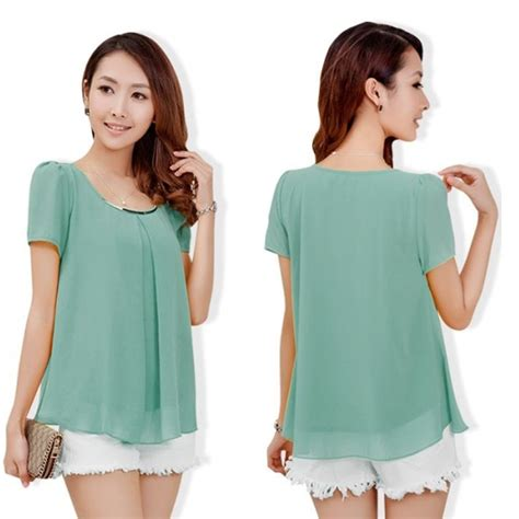 30966 Green Yellow White M L Xl Casual Top Le200617 summer fashion casual green pink white yellow black blue sleeve chiffon