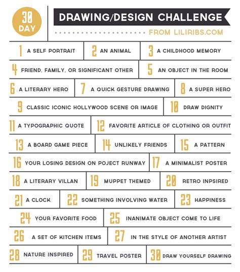 100 themes drawing challenge list 30 day drawing design challenge lili ribeira graphic
