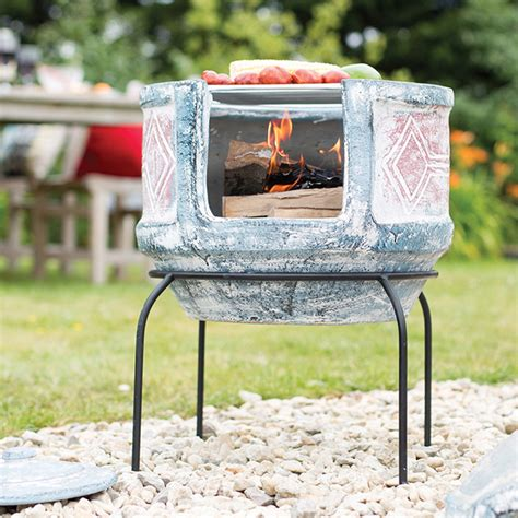geometric with grill small chimenea patio and garden