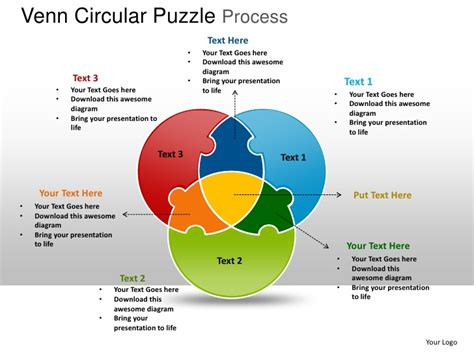 Venn Circular Puzzle Process Powerpoint Templates Venn Diagram Template Powerpoint