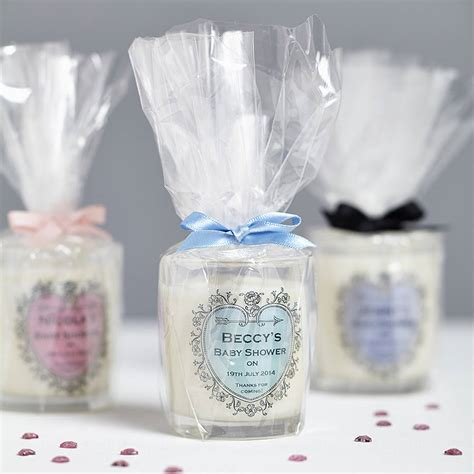 Personalised Baby Shower Favours by Baby Shower Personalised Candle Favours By Hearth