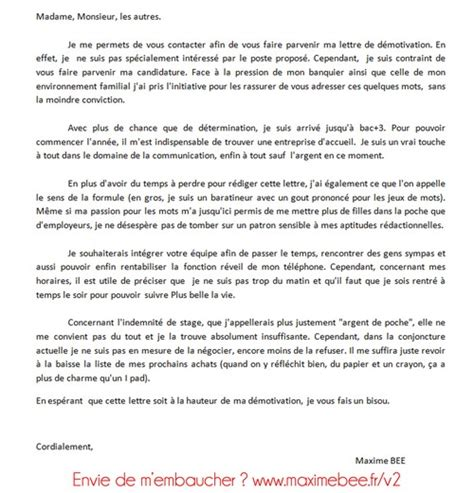 Exemple Lettre De Motivation Candidature Apb D 233 Couvrez La Lettre De D 233 Motivation De Maxime Bee