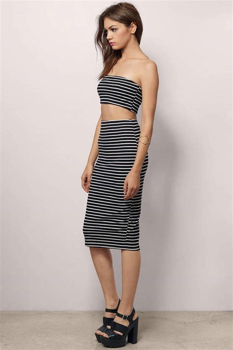 Id 289 Black White Stripe Dress black white dress black dress strapless dress bodycon dress 48 tobi us