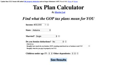 calculator new tax plan tax plan calculator