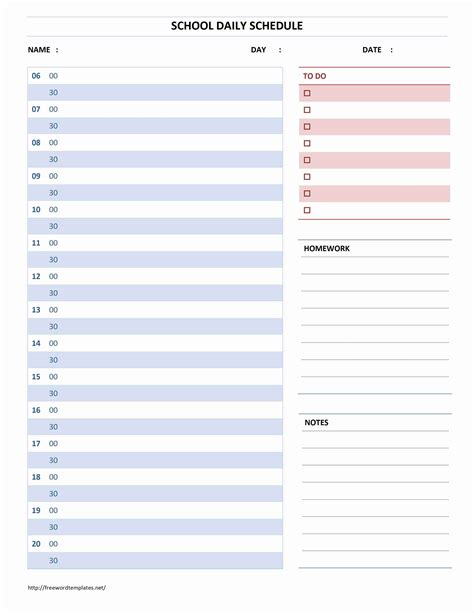free daily schedule template word