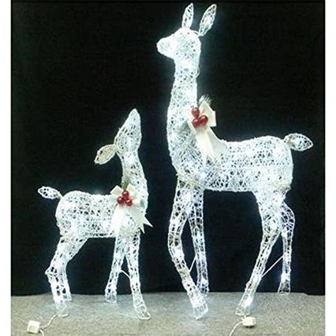 set of 2 yard or lawn lighted white grapevine deer