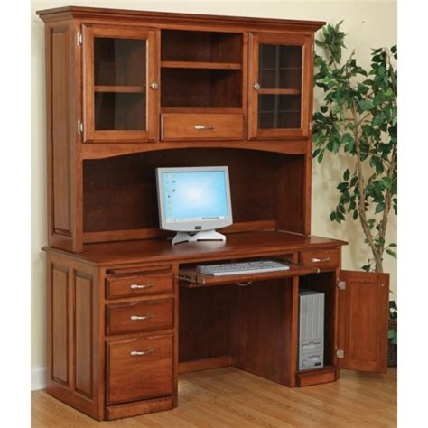 computer desk and hutch with glass doors amish handcrafted