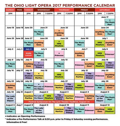 Ohio Light Opera by Calendar The Ohio Light Opera