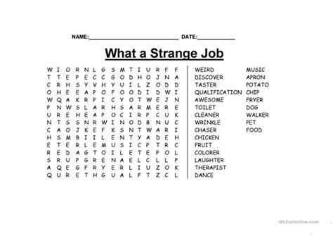 printable word search jobs what a strange job wordsearch worksheet free esl