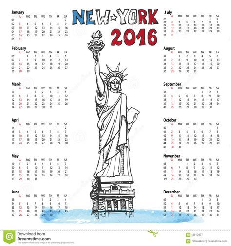 doodle calendar for calendar 2016 year new york doodle statue of stock vector