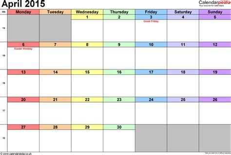 Calendar 2015 April Template Calendar April 2015 Uk Bank Holidays Excel Pdf Word