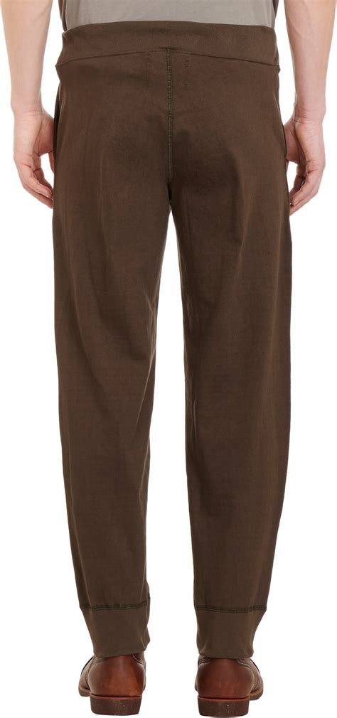 Jogger Brown Ribs lyst nigel cabourn cotton fleece sweatpants in brown for