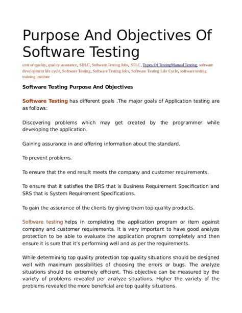 software tester career objective purpose and objectives of software testing