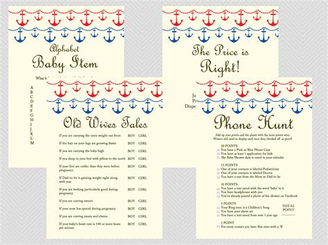 blue themed games beach nautical baby shower game package magical printable