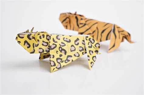 Origami Leopard - leopard origami tiger and leopard origami stock photo