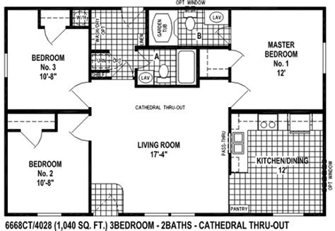 sectional mobile home floor plan the 6668ct view