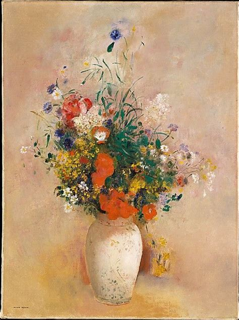 Vase Of Flowers Paintings by Odilon Redon 1840 1916 Vase Of Flowers Pink