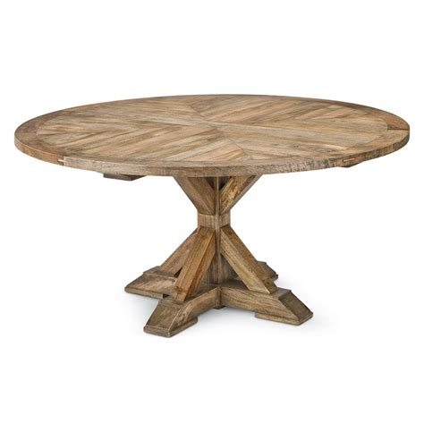 Ducasse French Style Mango Wood Parquet Round Dining Table Mango Wood Table