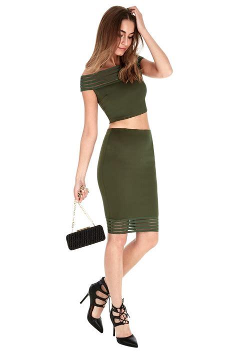 Kunci L Set 2 10 Mm 1 shoulder top with pencil skirt set khaki