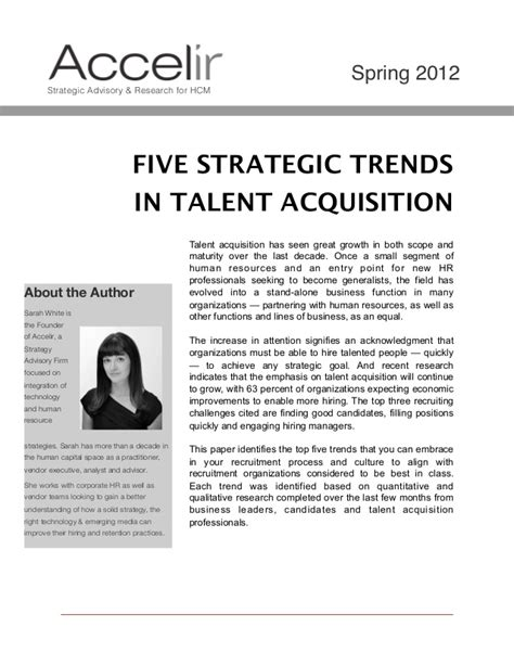 Talent Acquisition Specialist by 5 Strategic Trends In Talent Acquisition For 2012 2013 And Beyond