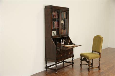 SOLD   Oak English 1910 Antique Secretary Desk, Leaded