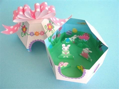 Paper Easter Crafts - easter egg diorama printable paper craft fantastic toys
